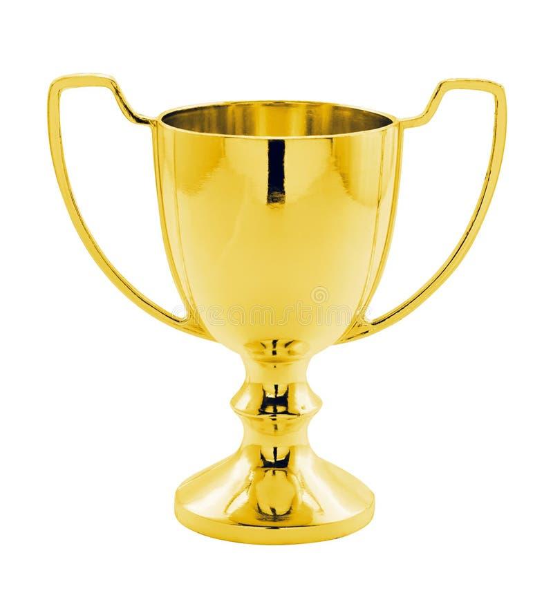 Złocisty zwycięzcy trofeum odizolowywający zdjęcia stock