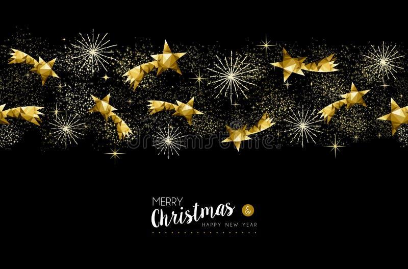 Złocistych bożych narodzeń i nowego roku gwiazd dekoracja ilustracja wektor
