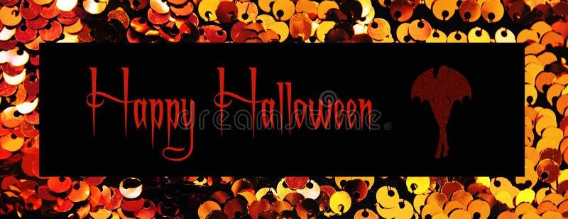 Złocistych cekinów tła tekstylny zakończenie up Round cekin tekstura pojęcie kalendarzowej daty Halloween gospodarstwa ponury min ilustracji