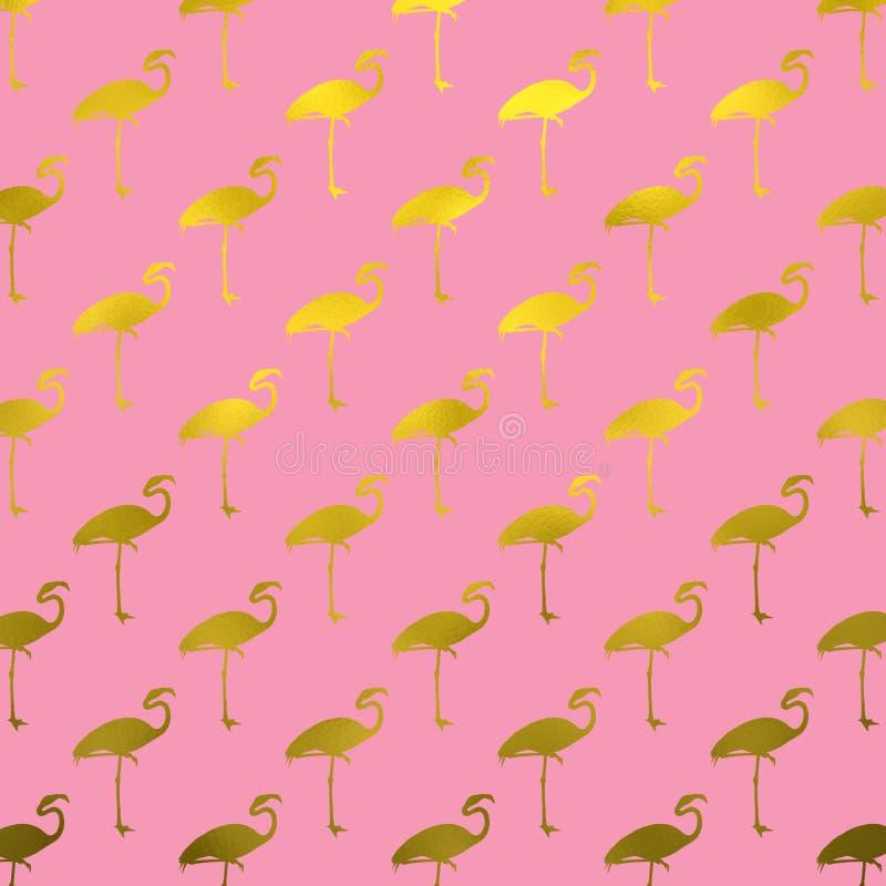 Złocistych flamingów flaminga Faux folii Polk kropek Deseniowe menchie obraz stock
