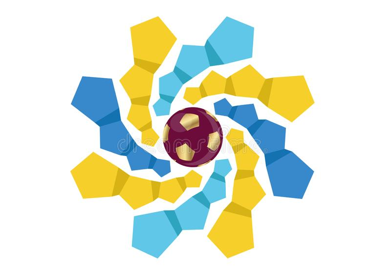 2022 złocistych futbolowych piłek nożnych ikon Katar, abstrakcjonistyczny sztandaru logo dla KATAR Fifa puchar świata szablonu 20 ilustracja wektor