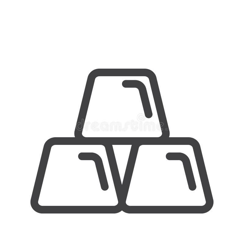 Złocistych ingots kreskowa ikona ilustracja wektor