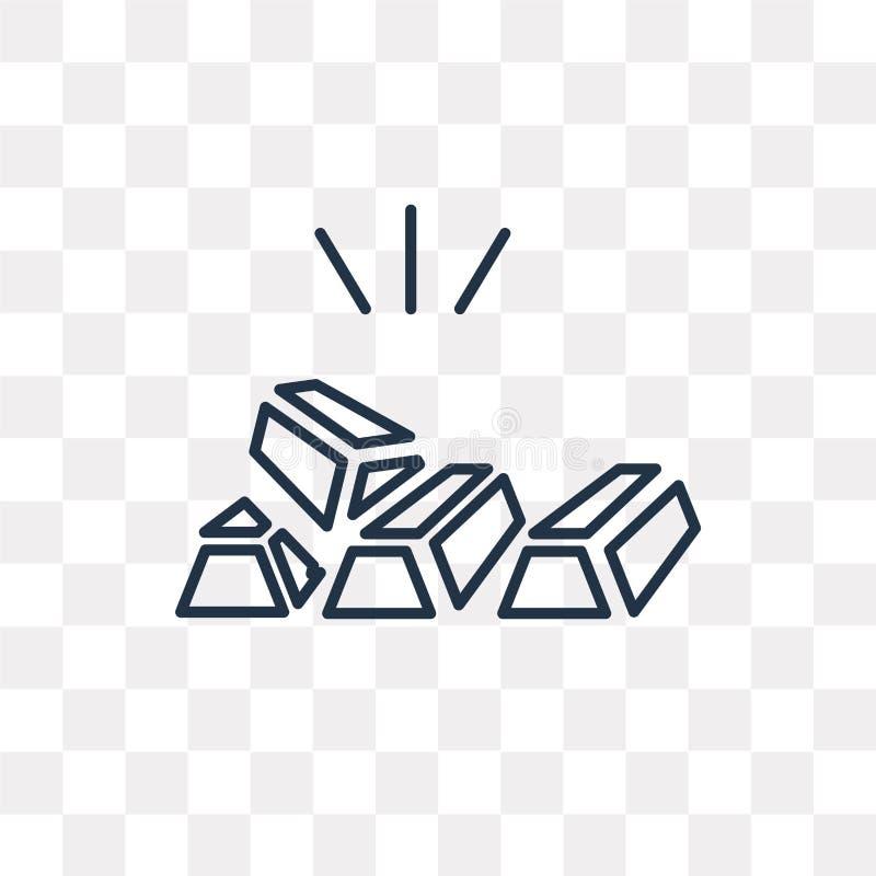 Złocistych Ingots wektorowa ikona odizolowywająca na przejrzystym tle, linia royalty ilustracja