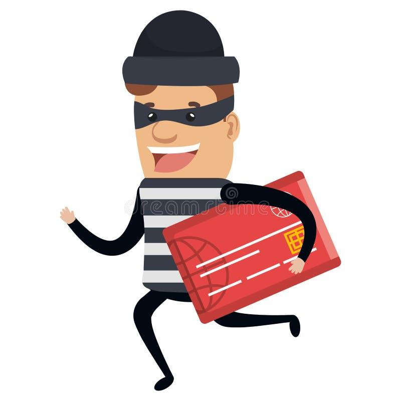 Złodzieja zły bieg z karty kredytowej avatar charakterem ilustracja wektor