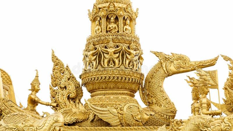 Złota łabędzia statua w buddyzmu obrazy stock