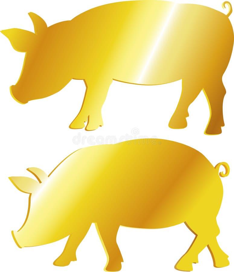 Złota świniowata symbol obfitość, dobrobyt - wektor ilustracja wektor