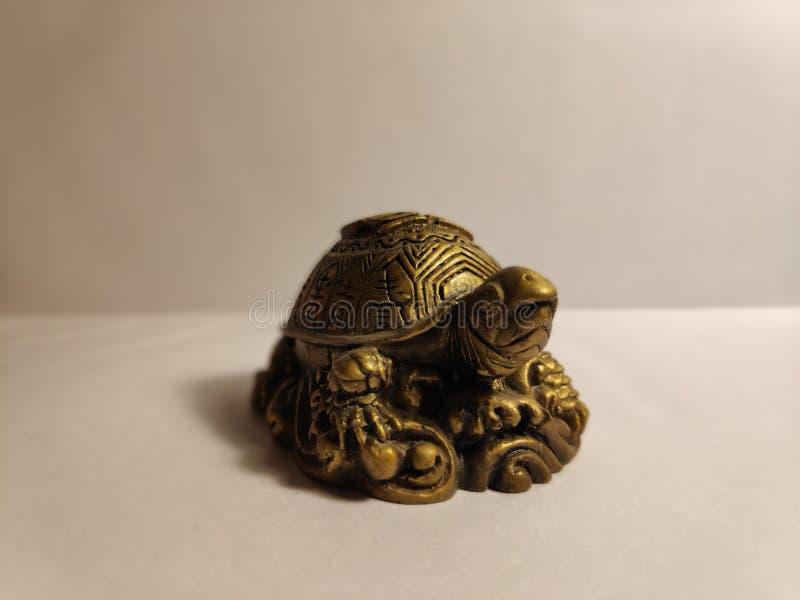 Złota żółw postać obrazy stock