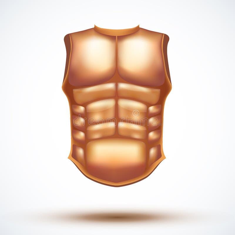 Złota antyczna gladiator kamizelka kuloodporna ilustracja wektor