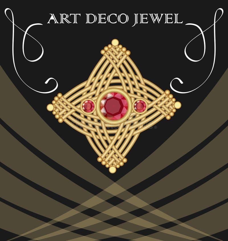 Złota art deco broszka z trzy czerwonymi rubinowymi klejnotami, pojedynczy klejnot na czarnym tle royalty ilustracja