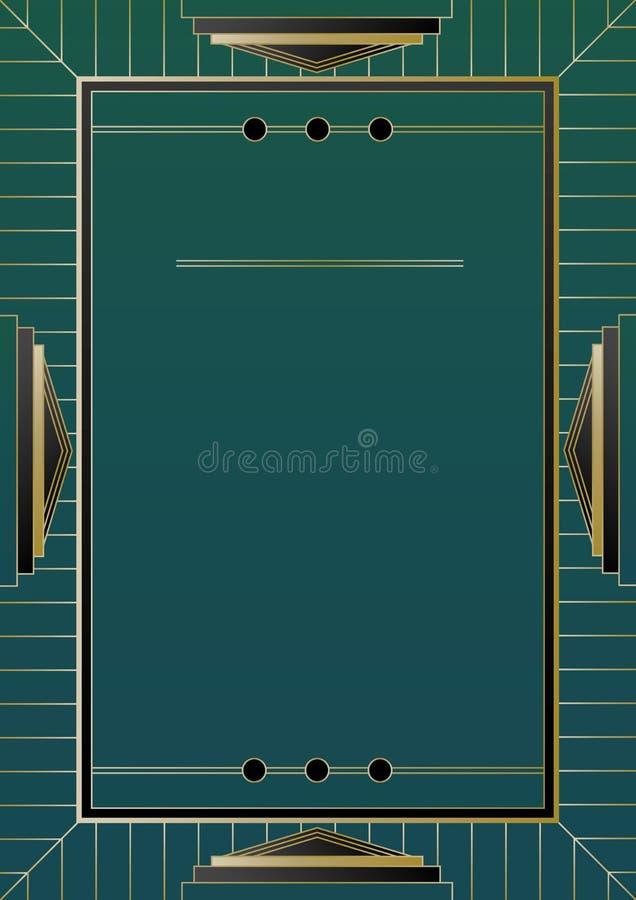 Złota art deco Ramowy tło ilustracja wektor