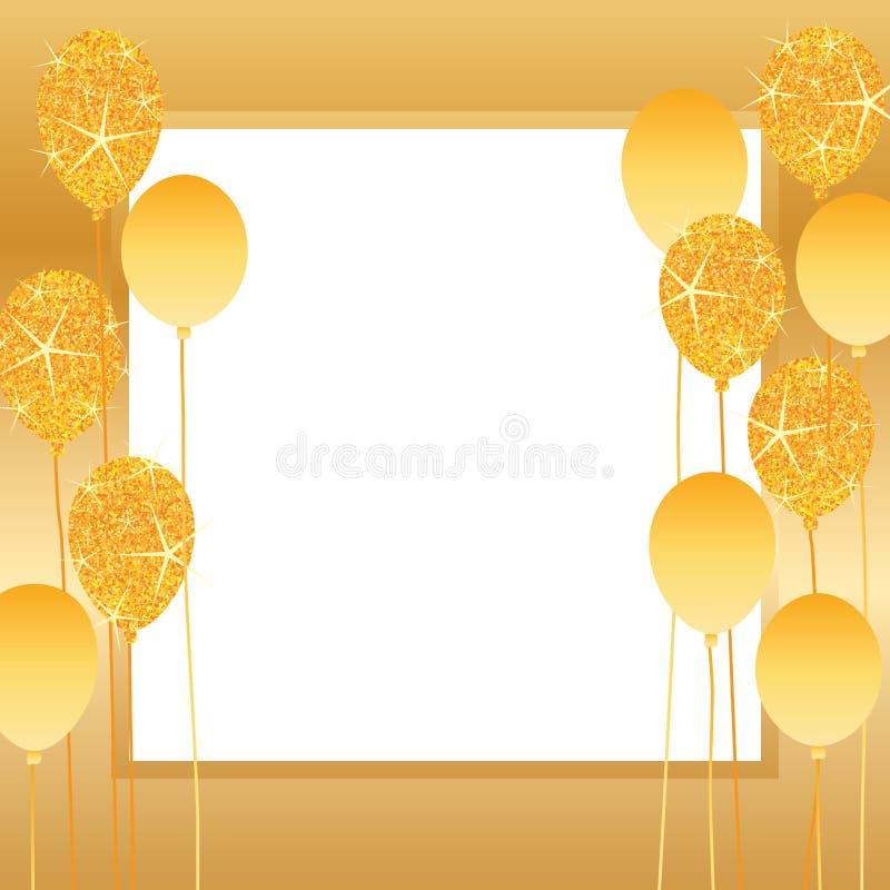 Złota błyskotliwość balonu rama ilustracji
