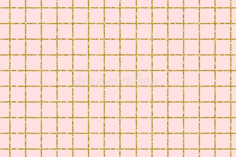 Złota błyskotliwość kwadrata płytka na różowym tle dla zaproszenie karcianego projekta szablonu kwadratowy nowożytny modny Wektor royalty ilustracja