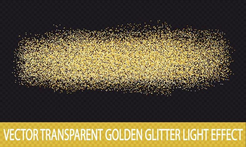 Złota błyskotliwość Przejrzysty tło - Wektorowy Lekki skutek - ilustracji