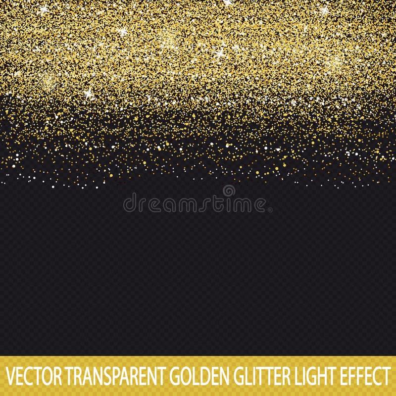 Złota błyskotliwość Przejrzysty tło - Wektorowy Lekki skutek - ilustracja wektor
