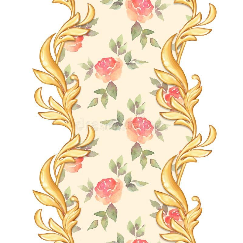 Złota barokowa semless granica ilustracji
