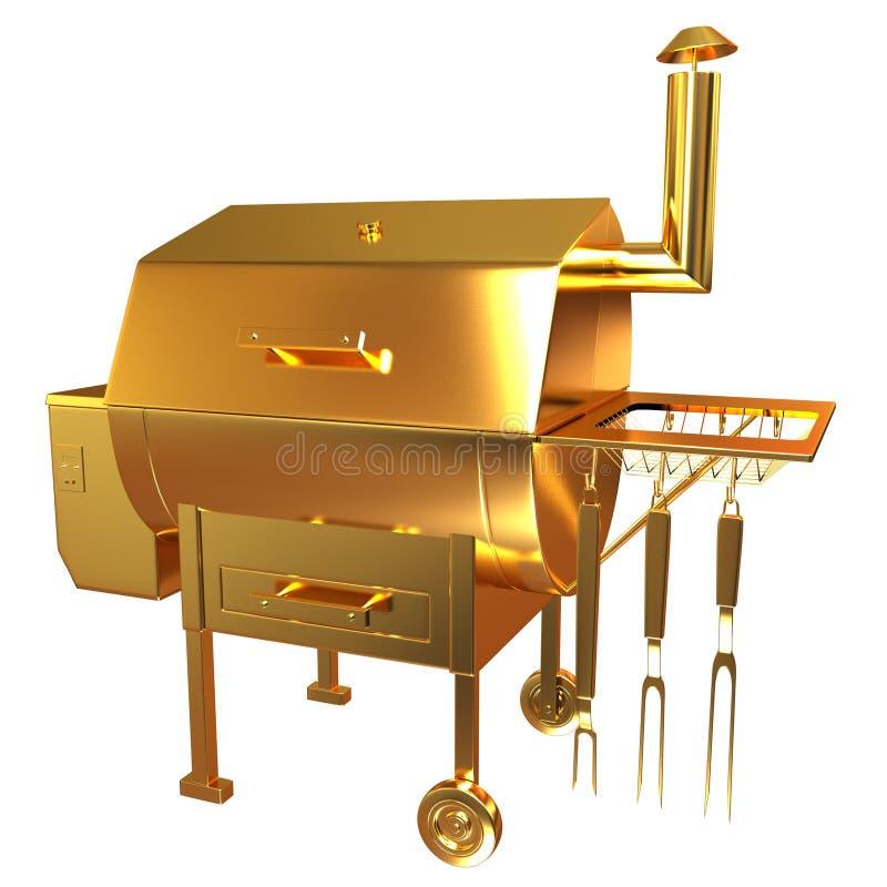 Złota BBQ grill ilustracji