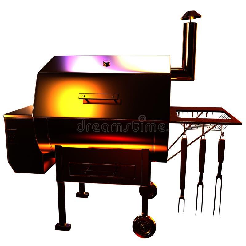 Złota BBQ grill ilustracja wektor