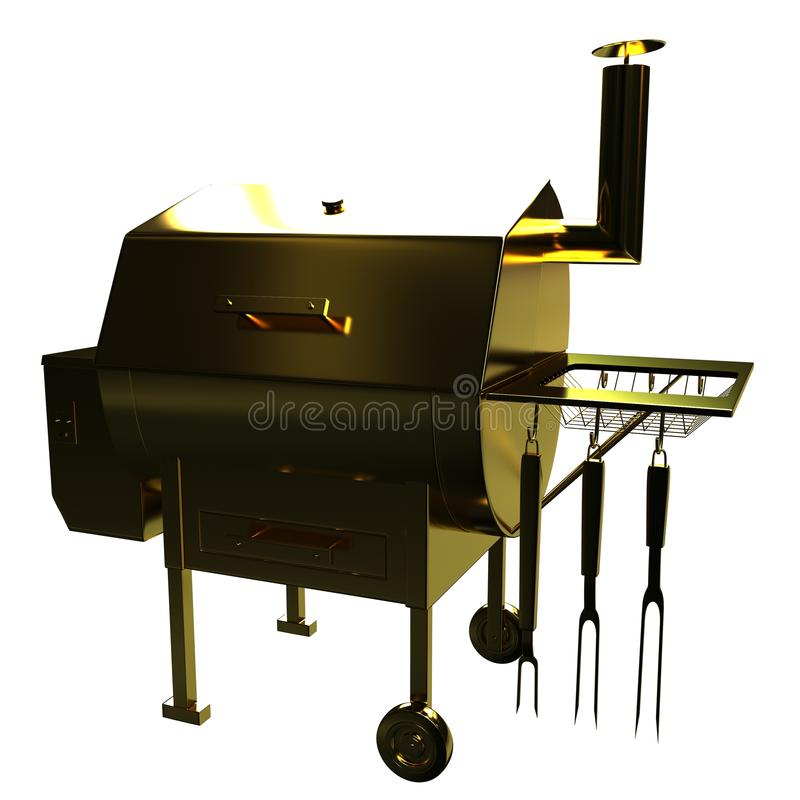 Złota BBQ grill royalty ilustracja