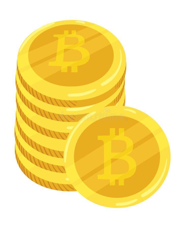 Złota Bitcoin cyfrowa waluta Sterta monety bitcoin Złocista sterta bitcoins cryptocurrency monety kolonel wektor ilustracja wektor