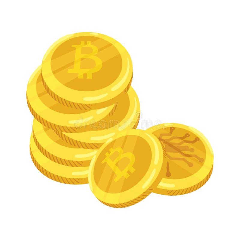 Złota Bitcoin cyfrowa waluta Sterta monety bitcoin Złocista sterta bitcoins cryptocurrency monety kolonel wektor ilustracji
