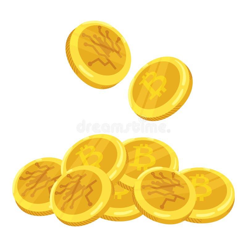 Złota Bitcoin cyfrowa waluta Sterta monety bitcoin Złocista sterta bitcoins cryptocurrency monety kolonel wektor royalty ilustracja