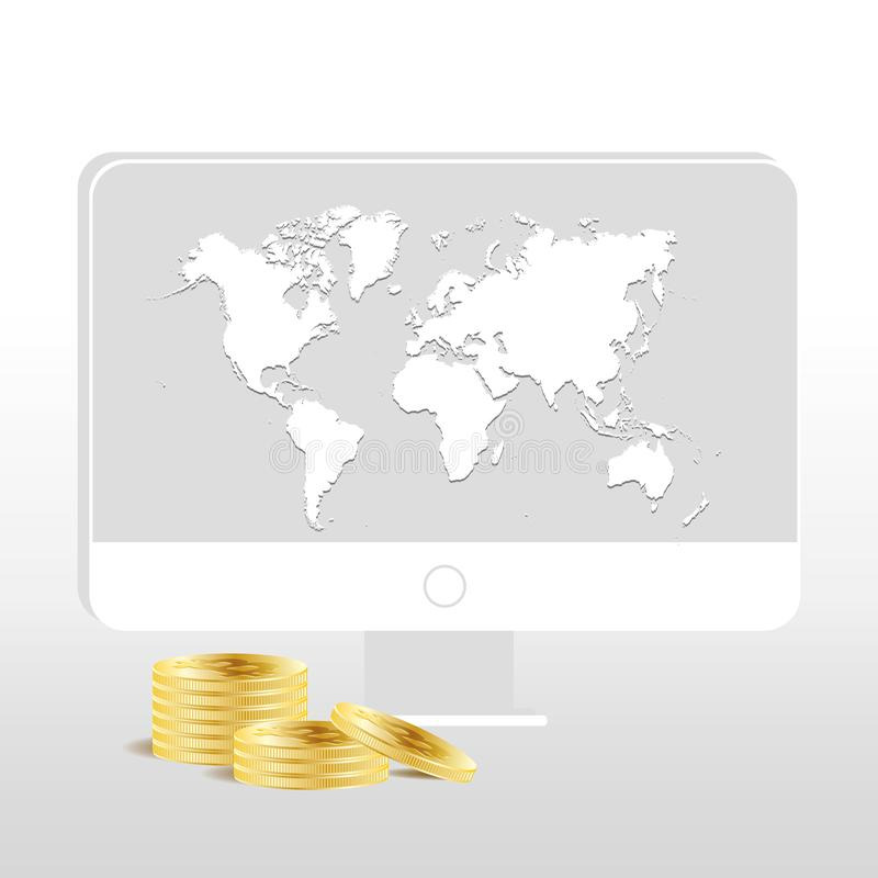 Złota Bitcoin cyfrowa waluta Sterty dziesięć monet na białym tle z desktop i światowej mapa na ekranie Bitcoin ilustracji