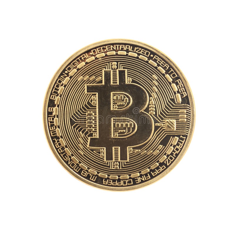 Złota Bitcoin moneta fotografia royalty free