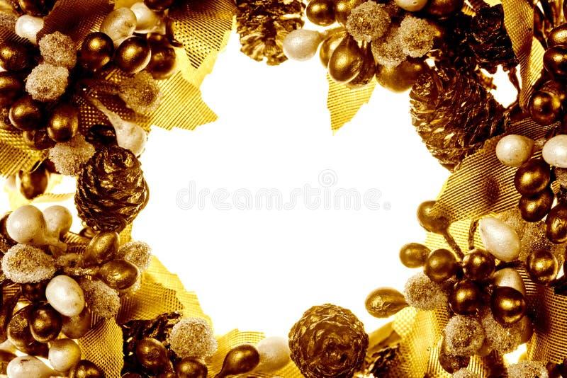 Złota boże narodzenie granica zdjęcia stock