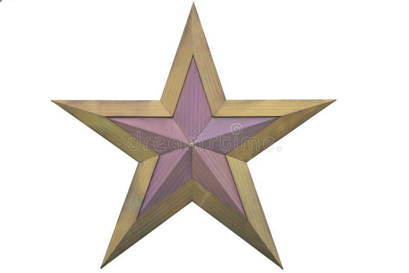 Złota boże narodzenie gwiazda odizolowywająca na białej tło Odgórnego widoku zakończenia złota gwiazdzie odpłaca się odosobniony  obraz stock