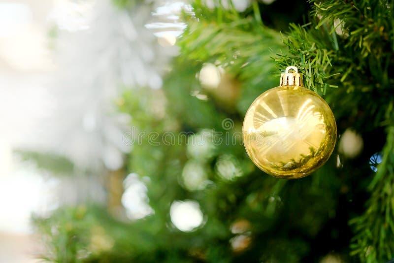 Złota Bożenarodzeniowa piłka dekoruje obwieszenie na zielonej sośnie zdjęcie stock