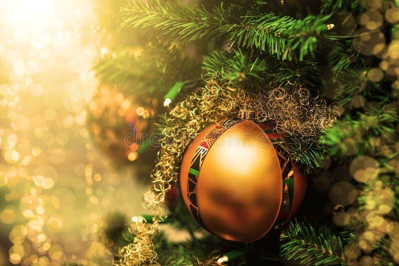 Złota Bożenarodzeniowa piłka na gałąź jedlinowy drzewo zdjęcia royalty free