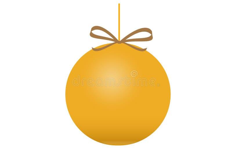 Złota Bożenarodzeniowa piłka z łękiem, odosobnionym na białym tle fotografia stock