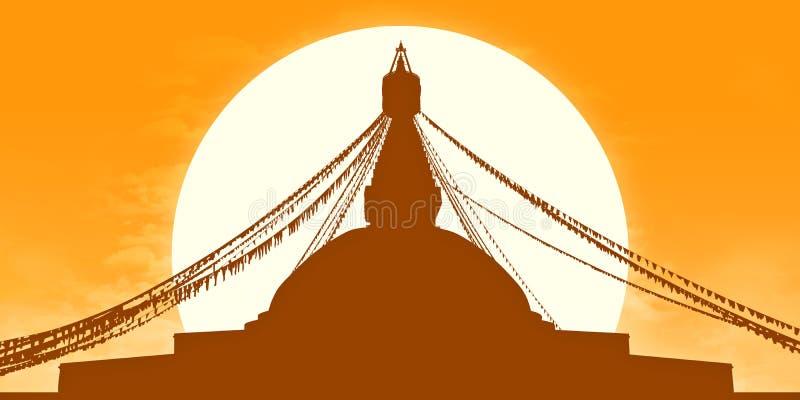 Złota Boudhanath stupy sylwetka ilustracja wektor