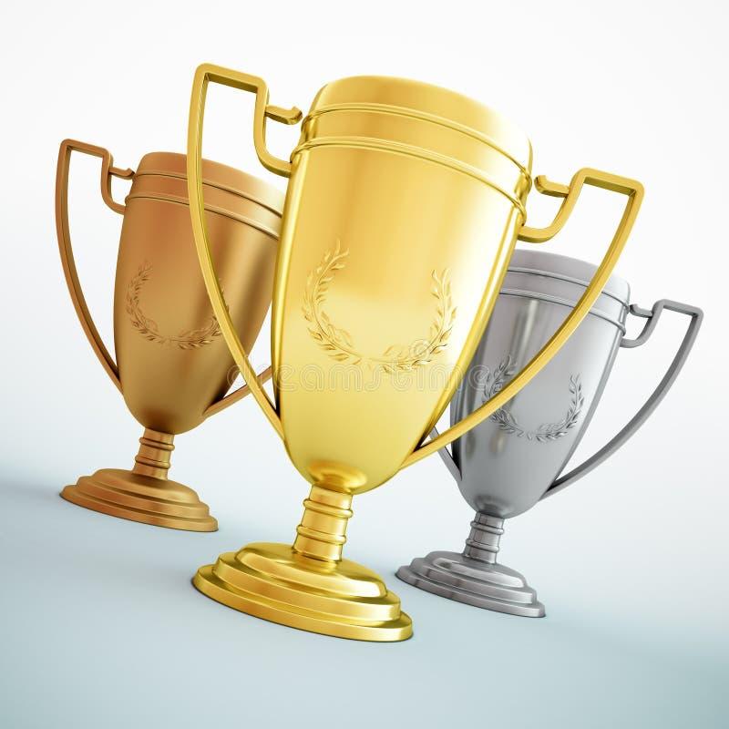 złota brązowy srebro trzy trofeum ilustracja wektor