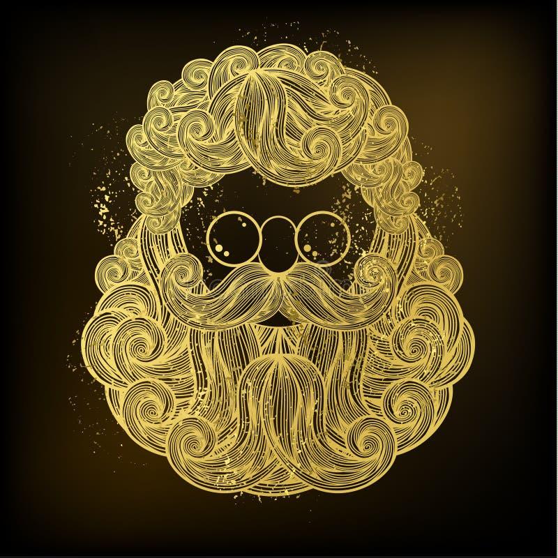 Złota broda i wąsy Święty Mikołaj ilustracja wektor