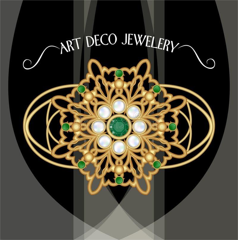 Złota broszka, art deco jewellery Filigree klejnot w retro stylu Broszka z perłami i szmaragdami Filigree wiktoriański jewellery ilustracja wektor
