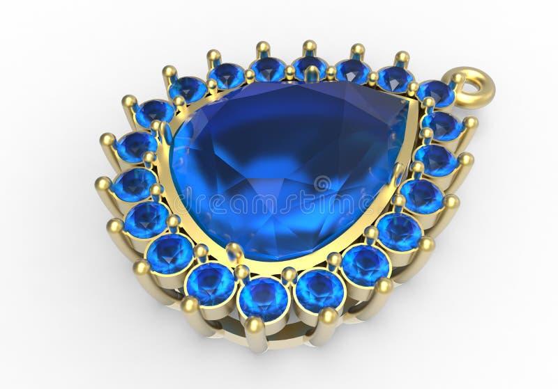 Złota broszka z błękitnymi diamentami royalty ilustracja