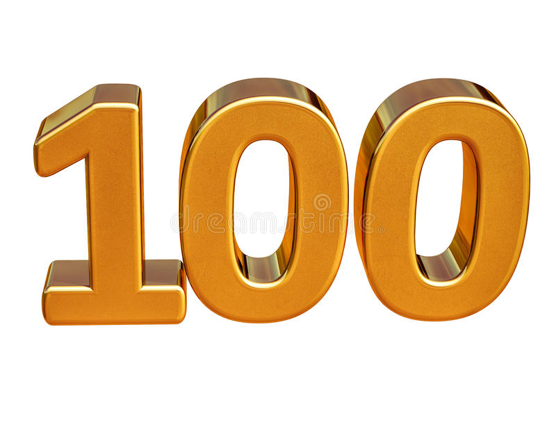 Złota 3d 100th rocznicy znaka wierzchołek 100 ilustracji