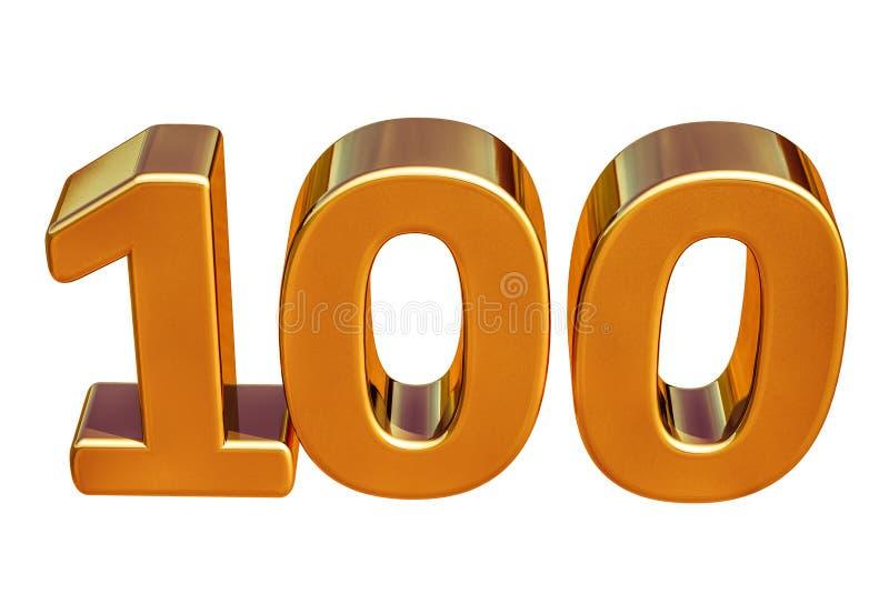 Złota 3d 100th rocznicy znaka wierzchołek 100 ilustracja wektor