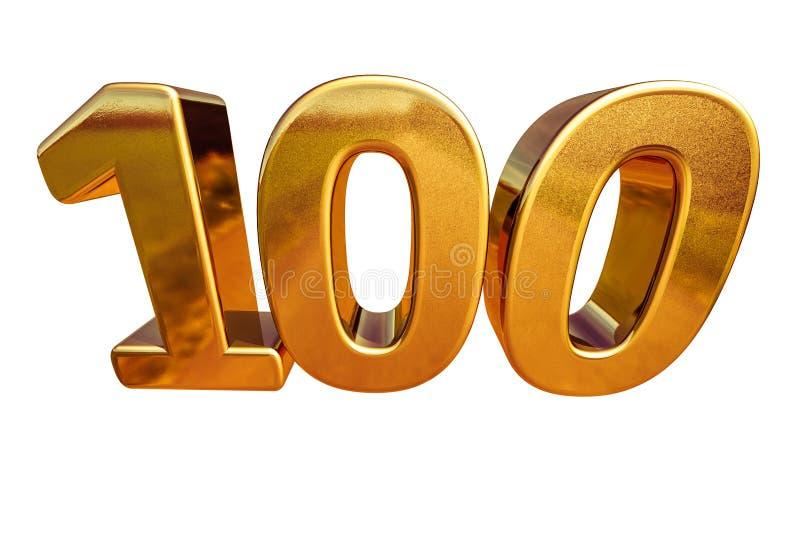 Złota 3d 100th rocznicy znaka wierzchołek 100 royalty ilustracja