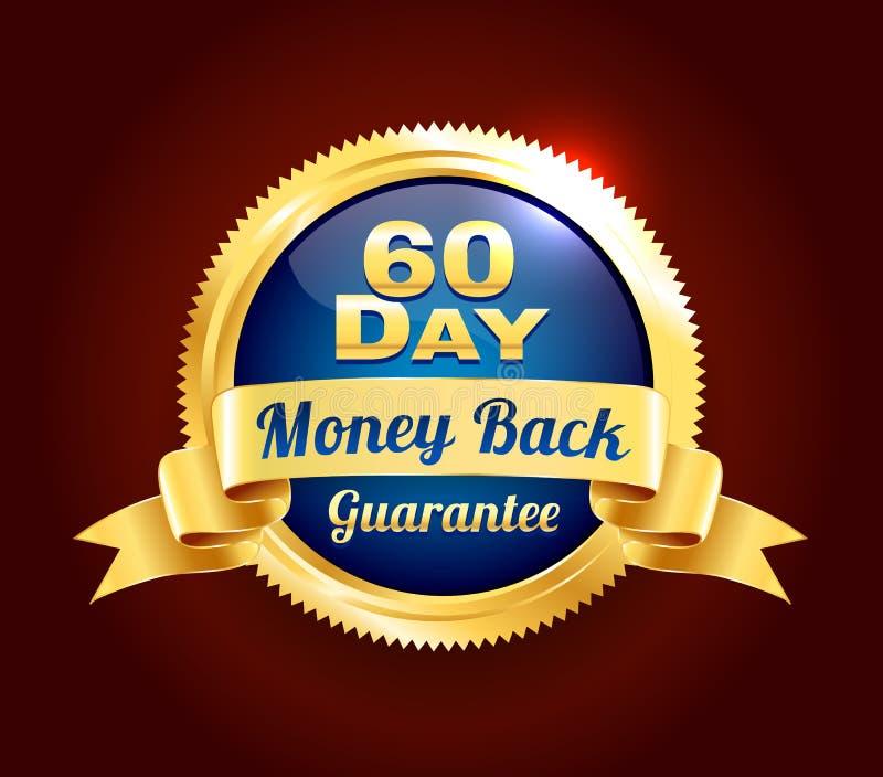 Złota 60 dni gwaranci odznaka ilustracja wektor