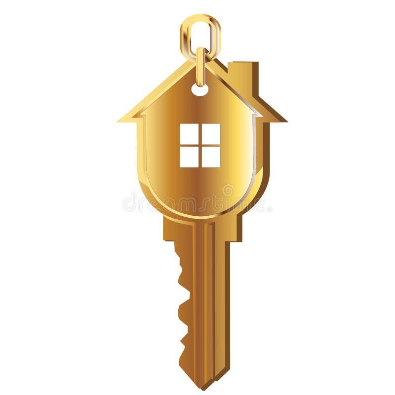 złota domu klucza logo ilustracja wektor