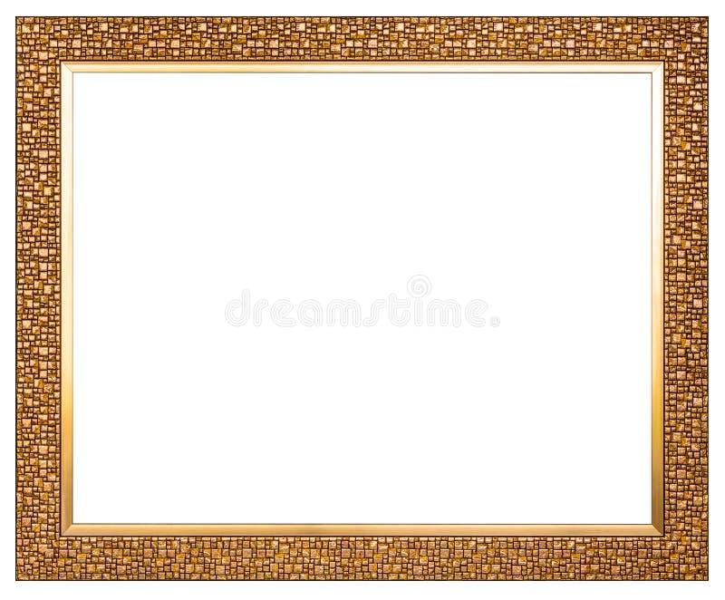 Złota drewniana fotografia wizerunku rama odizolowywająca na białym tła clipp zdjęcia stock