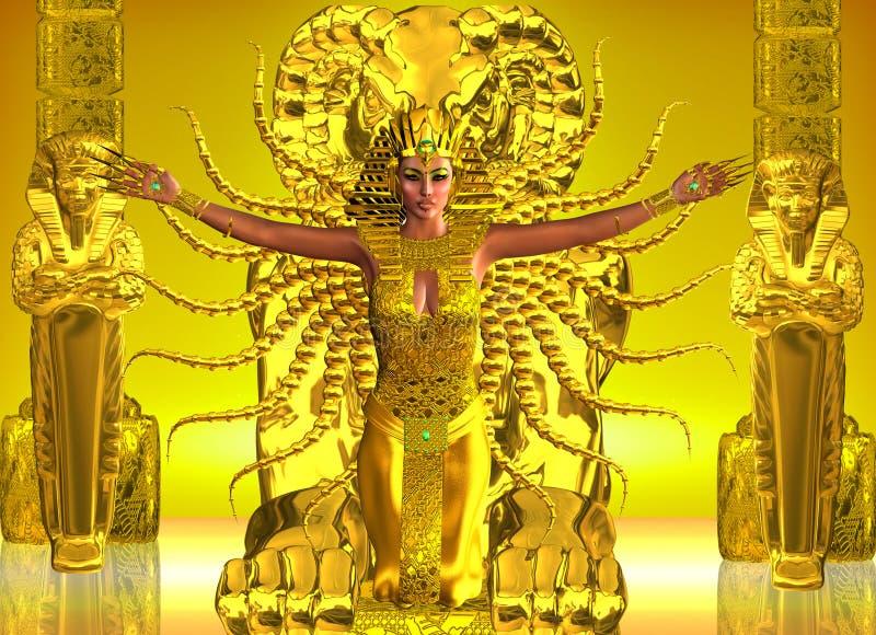 Złota Egipska świątynia ilustracja wektor