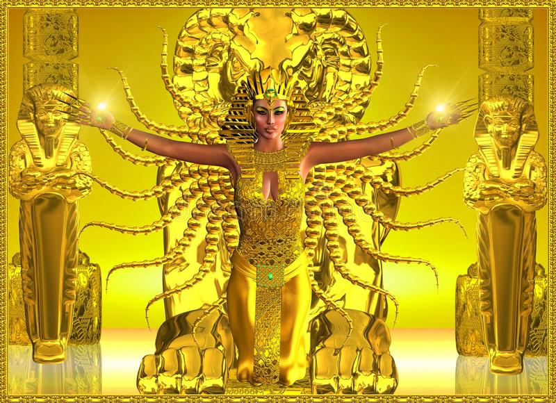 Złota Egipska świątynia ilustracji