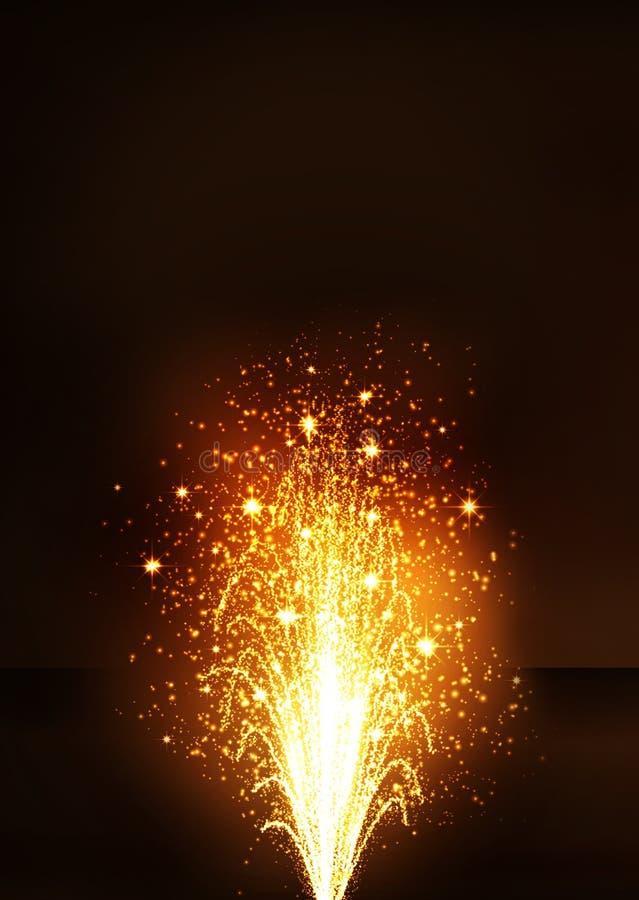 Złota fajerwerku wulkanu fontanna - nowy rok wigilia obraz royalty free