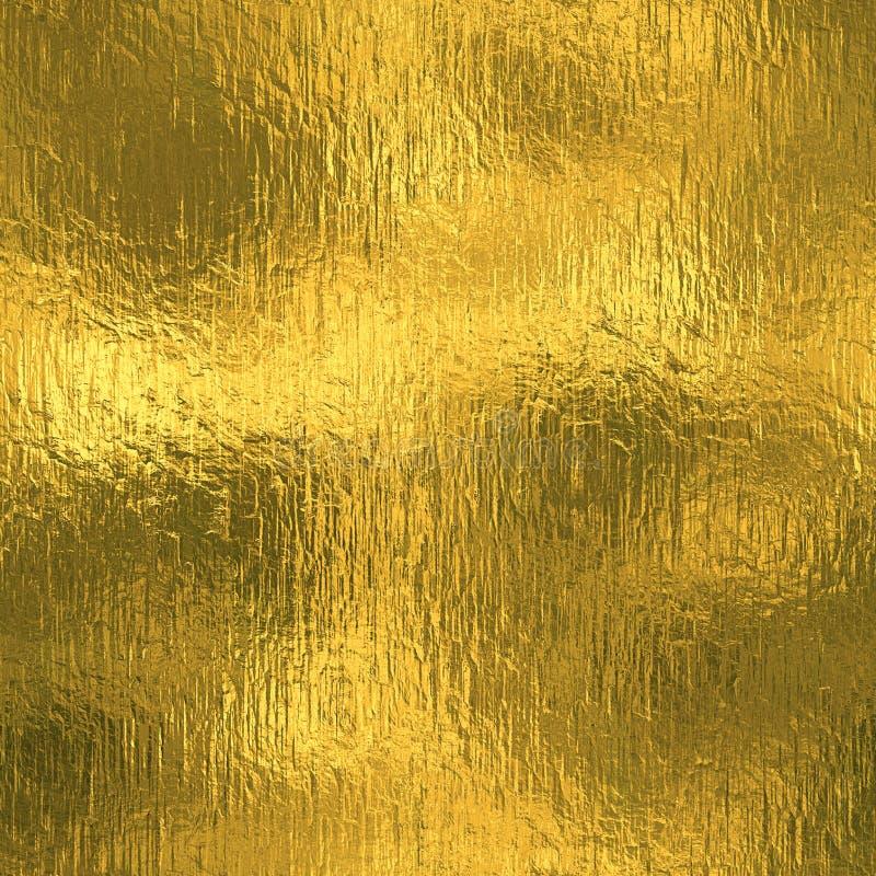 Złota Foliowa Bezszwowa i Tileable luksusowa tła tekstura Błyskotliwy wakacje marszczący złocisty tło