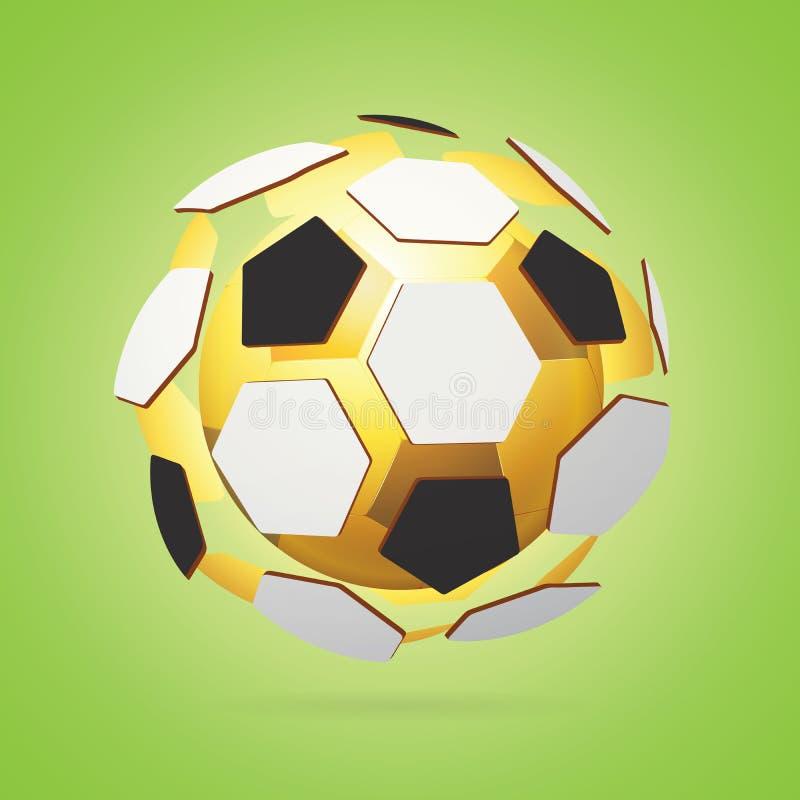 Złota futbolu, piłki nożnej piłka Wśrodku reala/Barwi wieloboki Jaskrawy - zielony sporta tło ilustracja wektor