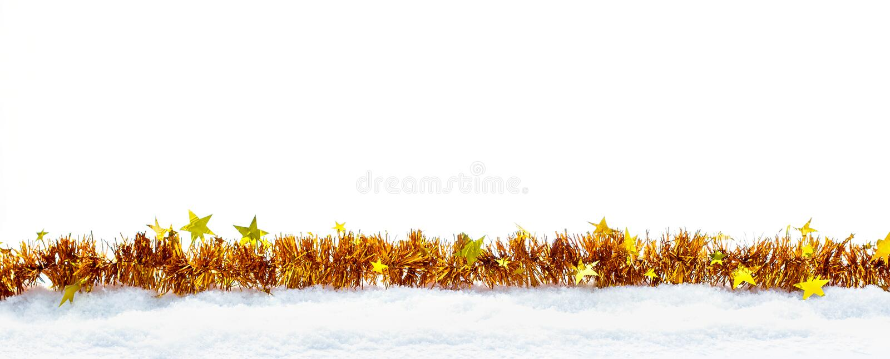 Złota girlanda z gwiazdami jako Bożenarodzeniowa dekoracja zdjęcia stock