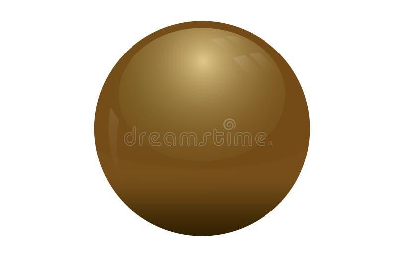 Złota glansowana sfera odizolowywająca na białym tle zdjęcie royalty free